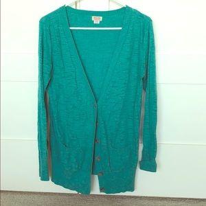 Turquoise sweater cardigan